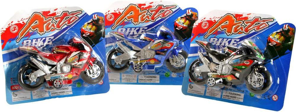 Motorka plastová 3 barvy na blistru s potiskem super bike