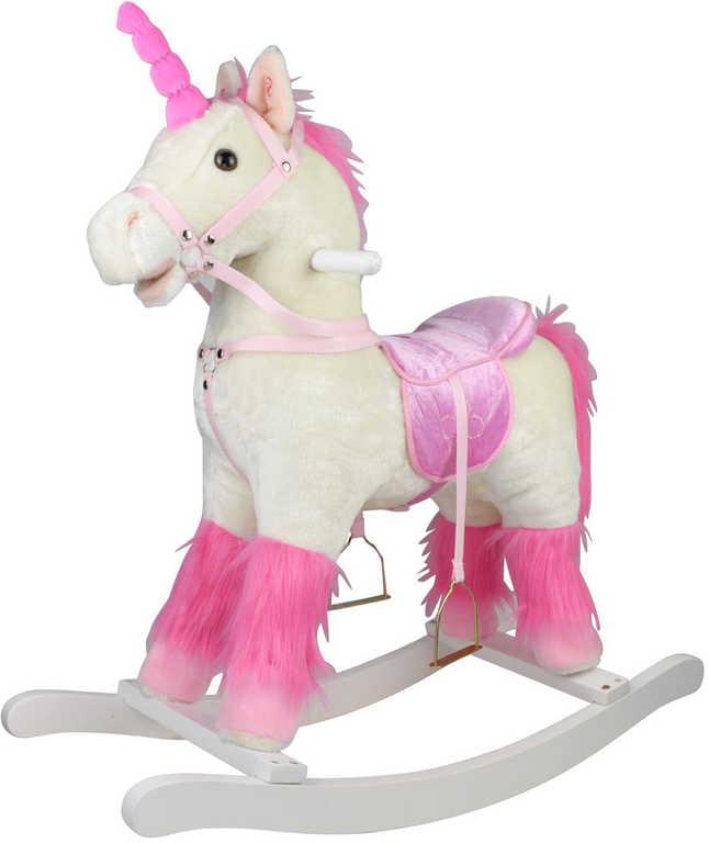 DŘEVO Kůň plyšový houpací jednorožec bílý 71cm řehtá na baterie Zvuk