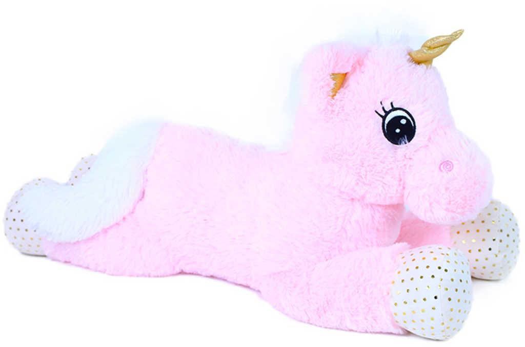 PLYŠ Koník jednorožec Niko 70cm růžový ležící *PLYŠOVÉ HRAČKY*