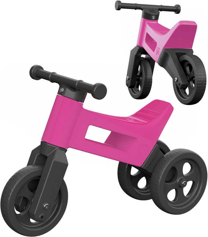 Dětské odrážedlo Funny Wheels 2v1 odstrkovadlo tříkolka / 2 kola růžové plast