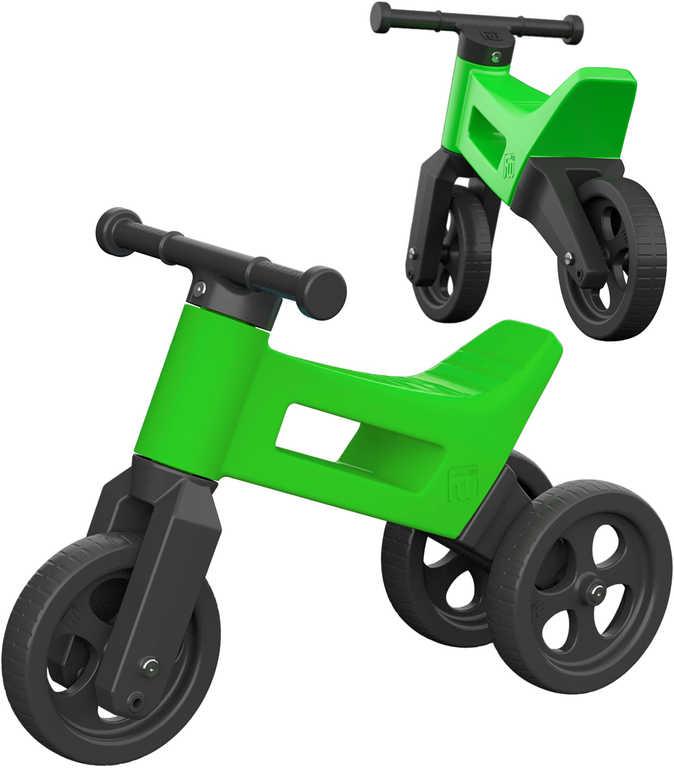 Dětské odrážedlo Funny Wheels 2v1 odstrkovadlo tříkolka / 2 kola zelené plast