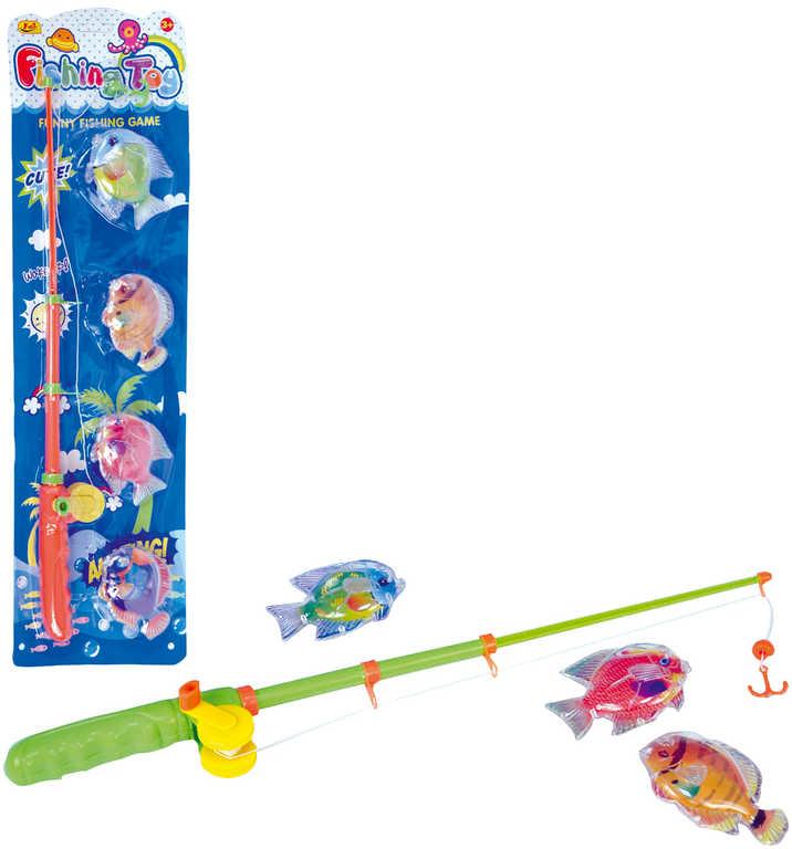 Hra magnetická malý rybář set prut + 4 rybky dětský rybolov plast