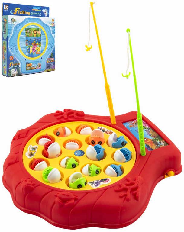 Hra malý rybář dětský rybolov 20x20cm set se 2 udicemi na baterie Zvuk