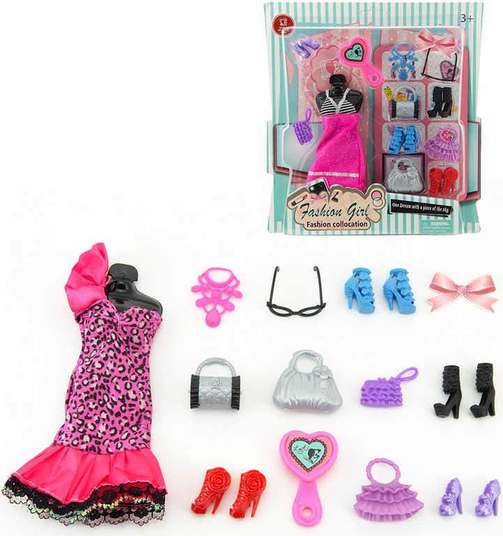Šaty s doplňky a botami módní sada oblečení pro panenku 2 druhy na kartě