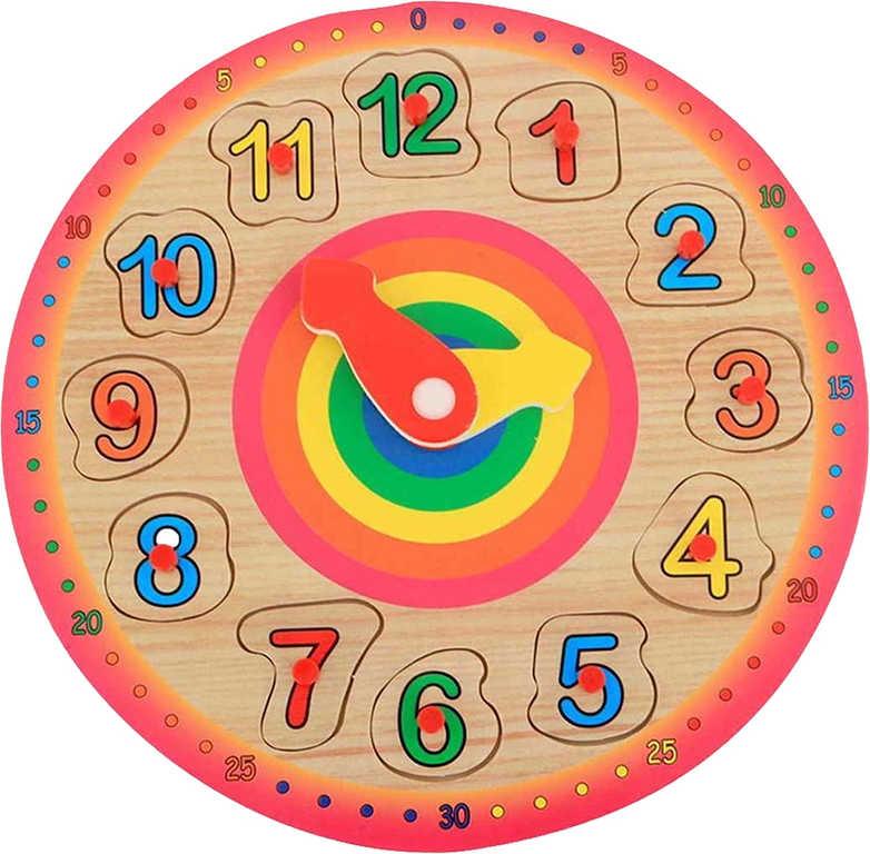 DŘEVO Vkládačka hodiny 23cm puzzle vkládací *DŘEVĚNÉ HRAČKY*