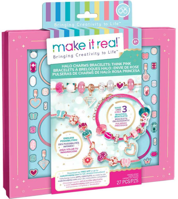MAKE IT REAL Výroba náramků růžová kreativní set v krabici
