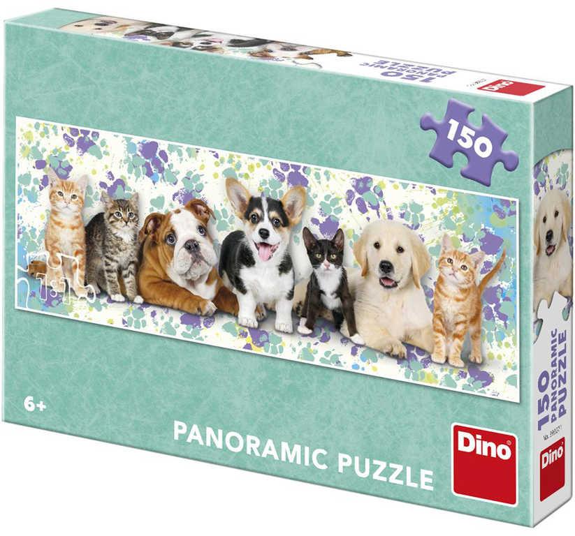 DINO Puzzle Panoramatické Psi a kočky foto 150 dílků 66x23cm skládačka v krabici