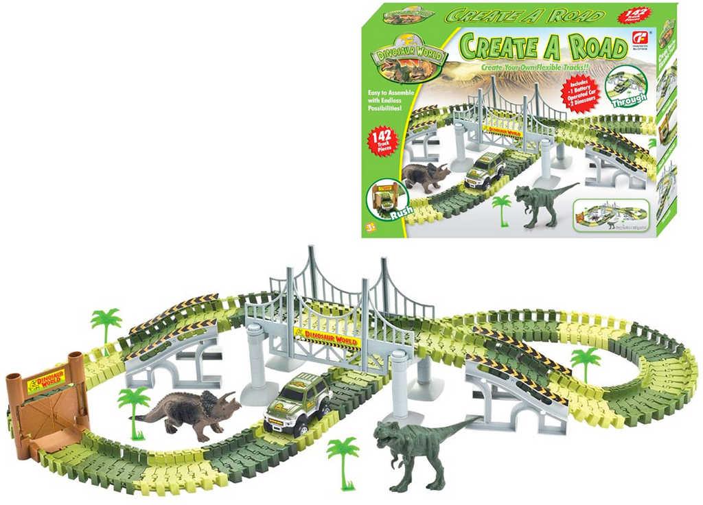 Autodráha flexibilní svítící set 142 dílků s dinosaury a autem na baterie