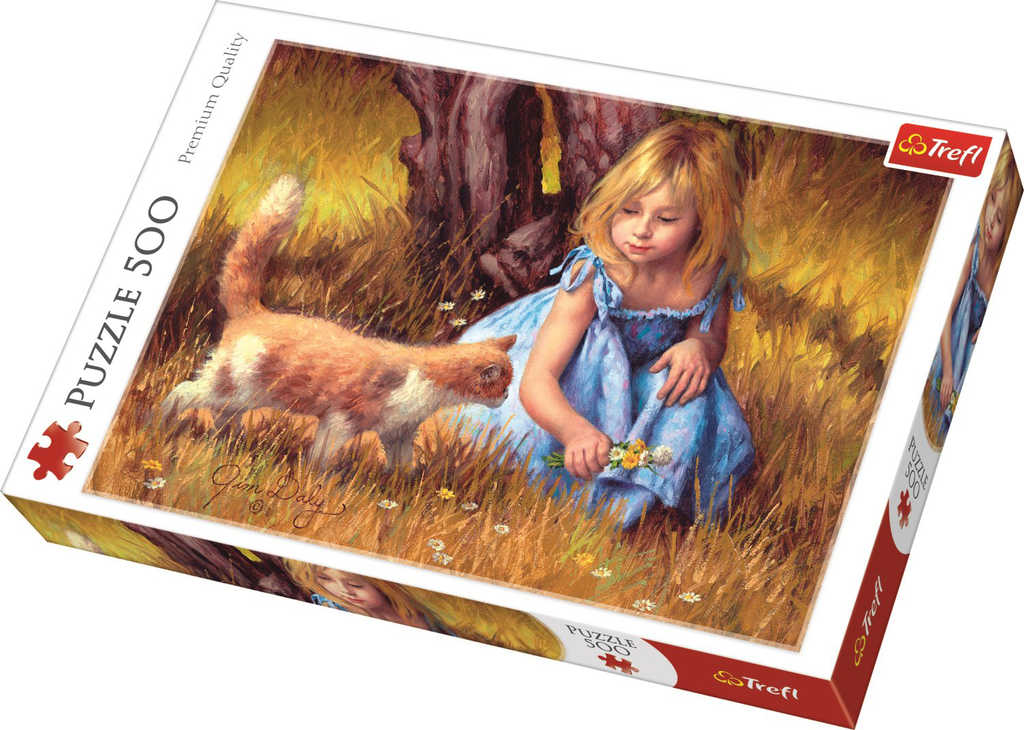 TREFL PUZZLE Obraz holčička s kočkou skládačka 48x34cm 500 dílků